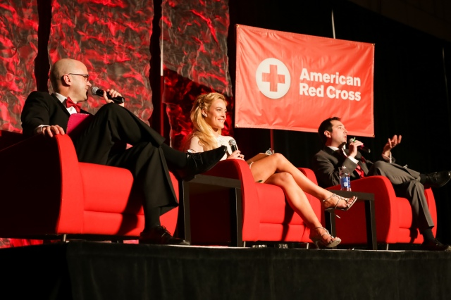 (l-r) 2014 Dancing with our Stars Judges. Chris Roth, WBAY, Sports Director, Peta Murgatroyd, Dancing with the Stars, Pro Dancer and Nick Vitrano, WIXX, On-air personality.