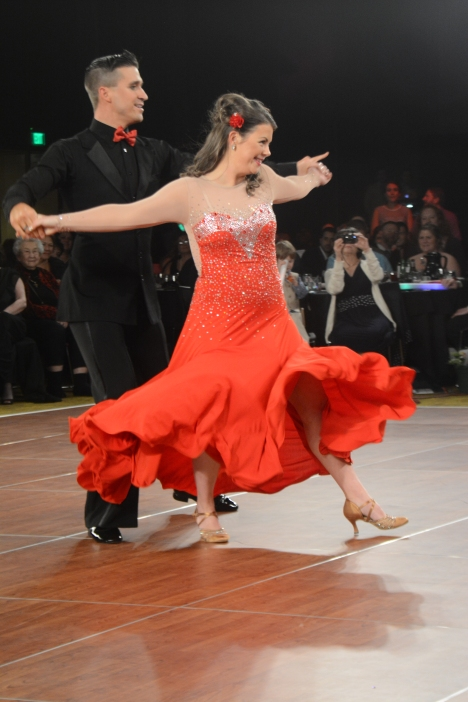 "Judges Choice: Anna Allen and Michael Witte for their two performances: Pictured - the Foxtrot to ""Sexy Silk"" photo by: Dave Pruszka"